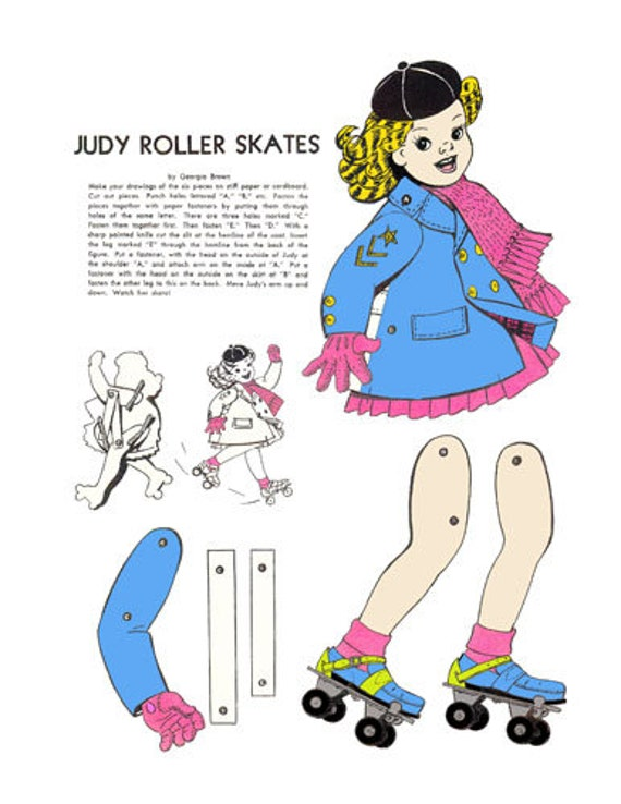 roller skates girl paper doll crafts clipart digital download images die cuts cut outs digital paper kids craft printables