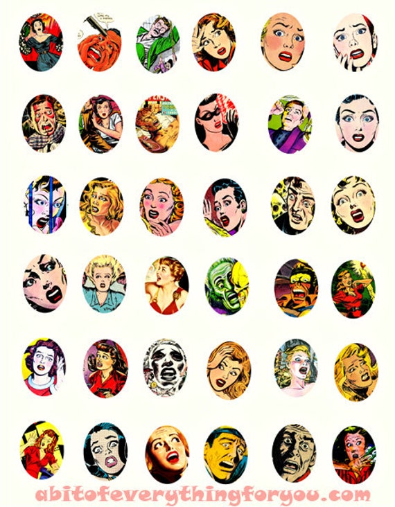 vintage screaming women collage sheet horror comics 22mmx30mm oval pulp clipart digital downloadable printable images DIY Jewelry making