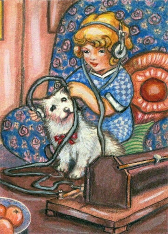 little girl puppy dog original aceo art pencil drawing animal pets music miniature artwork by Elizavella