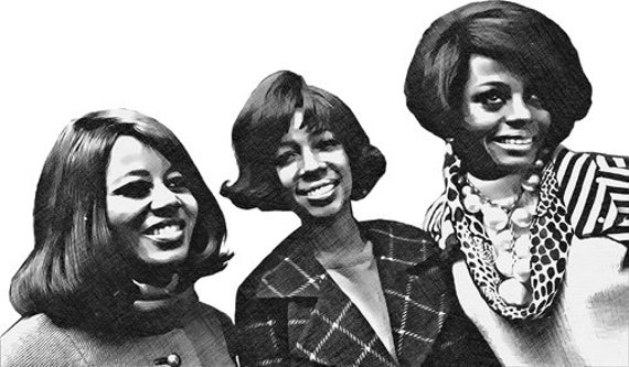 The Supremes 1960s music black african womens png jpg drawings printable wall art instant download clipart digital image graphics