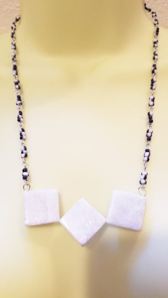 gray marble stone necklace glass beaded square pendant gemstone boho jewelry