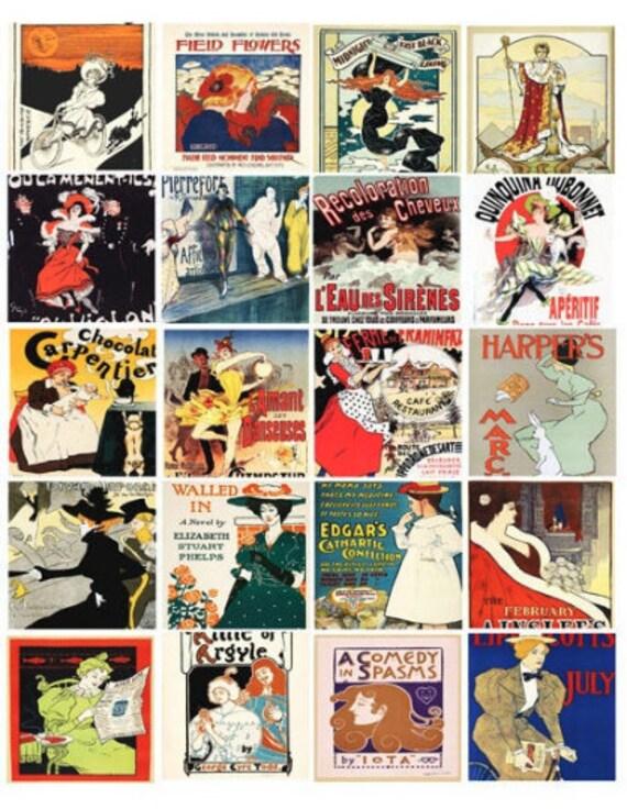 digital collage sheet download vintage art deco advertisements clip art instant 2 inch squares graphics images craft printables