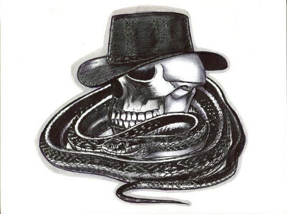 ORIGINAL cowboy skull snake pen ink drawing day of the dead goth illustration modern artwork By Elizavella