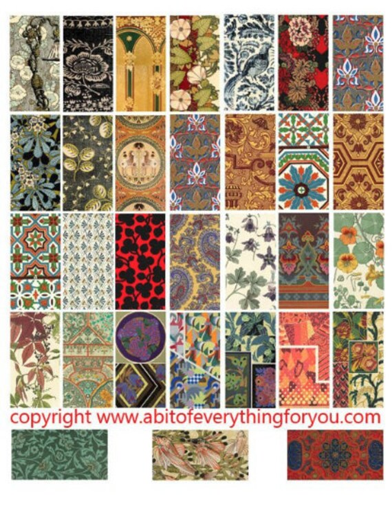 "vintage fabrics textiles patterns art clipart digital download domino collage sheet 1"" x 2"" inch graphics images printables pendants magnets"