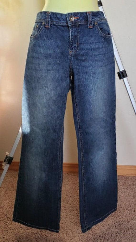 womens jeans pants size 13 stretch denim 31 x 29 zipper pockets blue faded vintage 90s