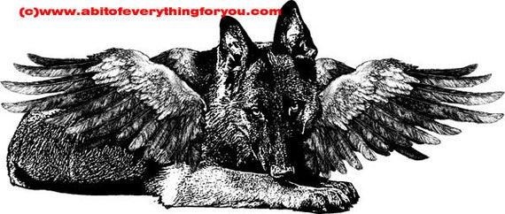 german shepard dog angel printable animal wall art clipart png download digital image dog graphics pets black and white home decor