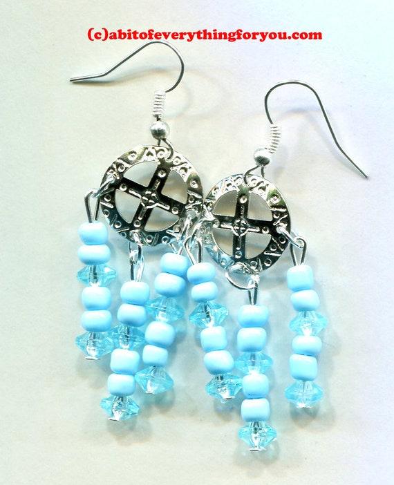 cross circle blue bead earrings, chandelier earrings, blue drops, blue earrings, long dangles beaded hadmade jewelry