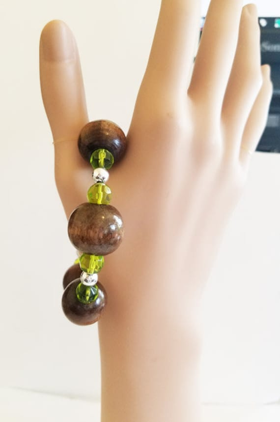 brown chunky wood and glass bead bracelet, bangle bracelet, green beads hippie bracelet, handmade gypsy bohemian jewelry