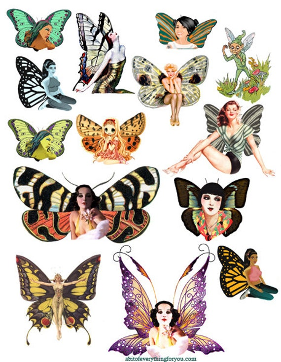fairy collage sheet printable die cuts clipart digital download craft fairies cut outs graphics images for DIY cards tags scrapbooking