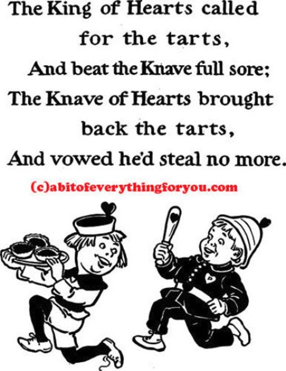 king of hearts knave nursery rhyme printable art prints clipart png Digital Download Image graphics downloadable kids room art