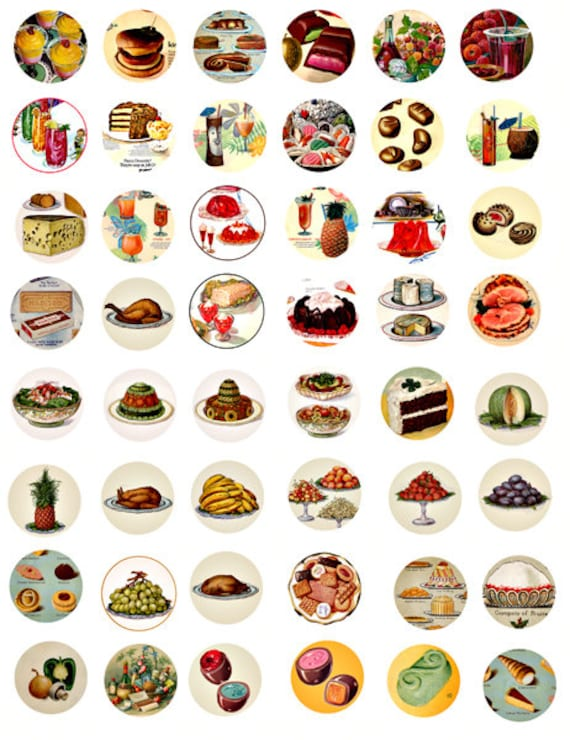vintage food ads cookbooks clipart collage sheet 1 inch circles graphics downloadable images digital download meals dining craft printables