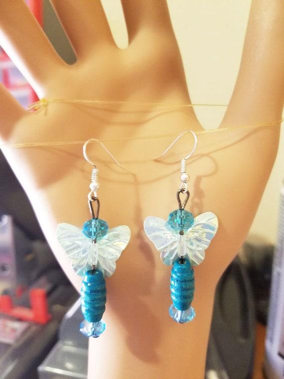blue Bead fairy butterfly earrings dangle drop plastic wood glass beaded jewelry
