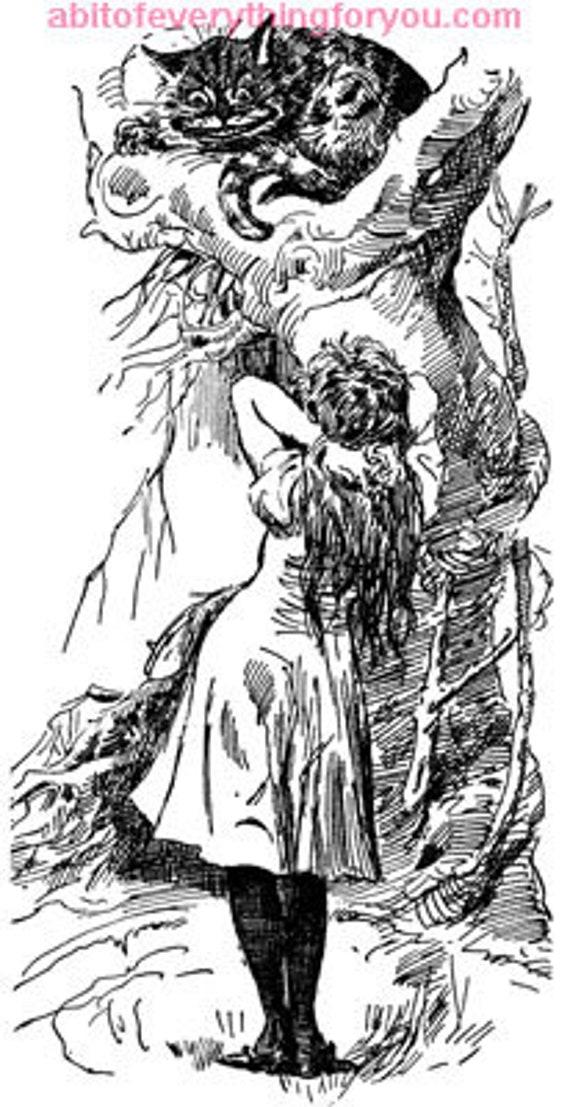 Alice in Wonderland cheshire cat printable vintage art digital download image graphics downloadable black and white artwork