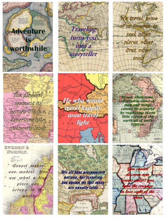 travel quotes  vintage antique world maps clipart digital download collage sheet 2.5 x3.5 inch graphics images printables