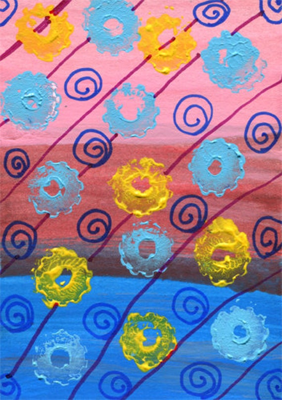 gears swirls abstract painting original aceo art acrylics blue pink miniature