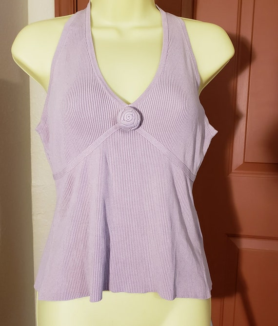 purple fancy silk tank style top shirt womens sz Large V neck sleeveless I.N.C. late 90s
