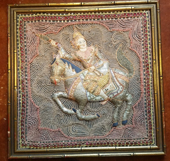 embroidery framed 3D art prince riding horse hindu art thread Fabric Soft Sculpture needle work vintage crafts home decor living room