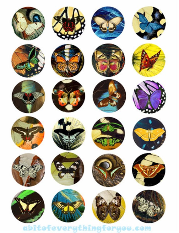 """Printable Download butterfly wings pattern art 1.5"""" inch Circle Images Digital Collage Sheets for pendants, bezels, cabochon magnets"""