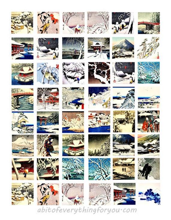 winter snow landscape vintage art collage sheet 1 x 1 inch squares digital download printable images downloadable pendants