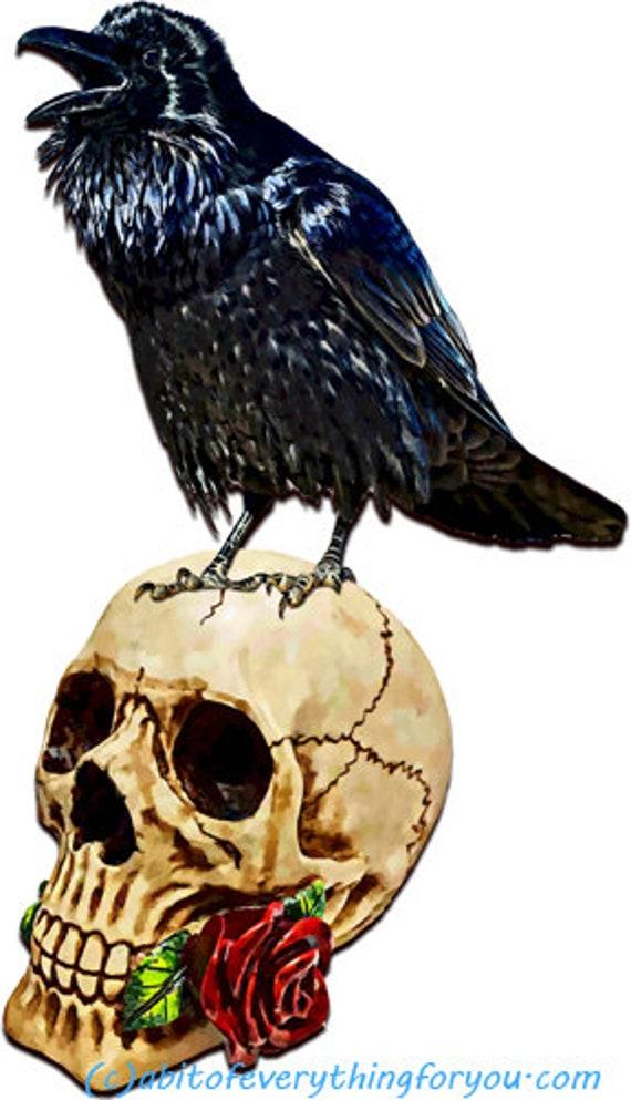 black raven crow bird skull printable painting art download goth digital image png jpg gothic graphics downloadable nature wildlife art
