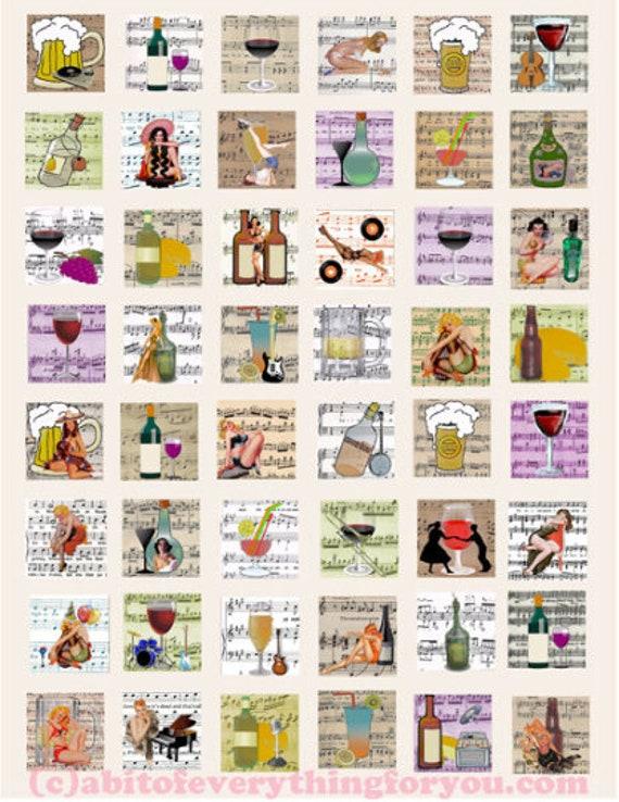 women wine song vintage pinup girls art woman collage sheet alcohol booze 1x1 inch squares digital download printable images sheet music diy