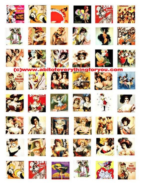 "burlesque dancers strippers vintage art clip art digital download collage sheet 1"" inch squares graphics images craft printables"
