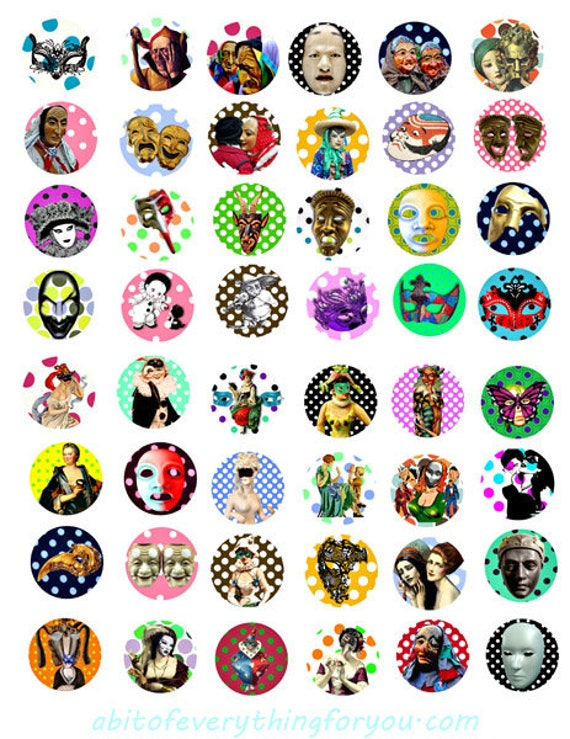 "masks polka dots masquerade clipart digital download collage sheet 1"" inch circles mardi gras downloadable graphics images printables"
