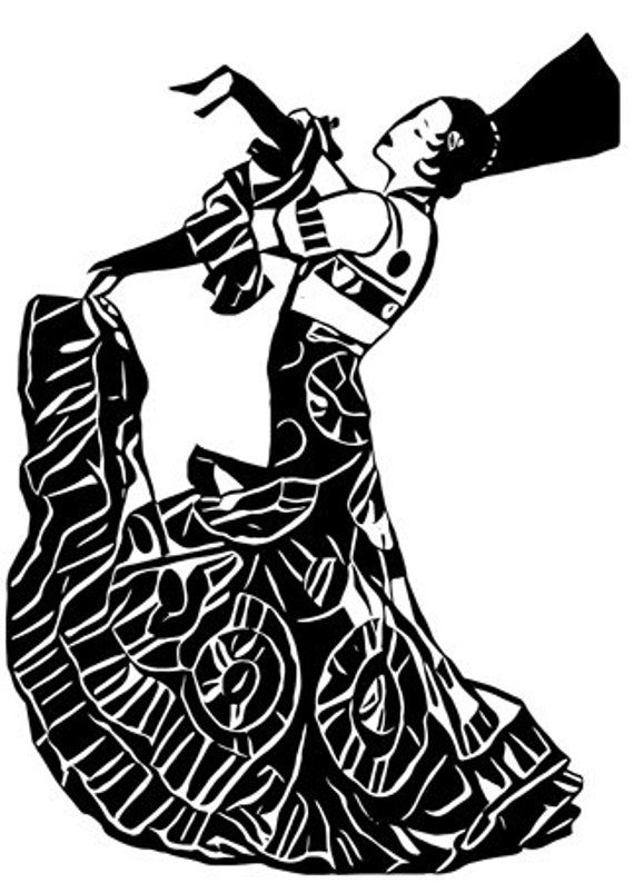 abstract flamenco dancer spanish girl printable art clipart png svg vector jpg digital download image graphics