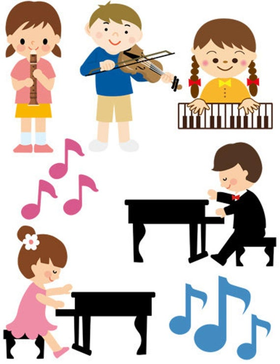printable art clipart cartoon children musicians instruments clipart png jpg music download digital image graphics cut outs die cuts