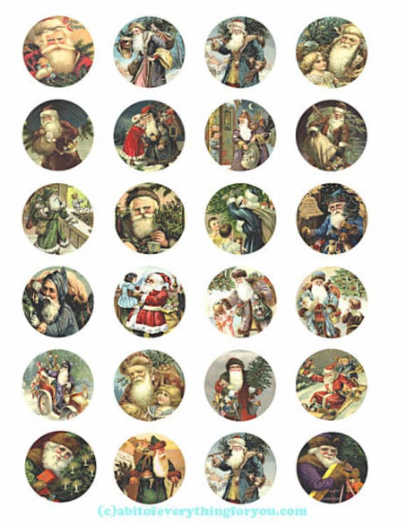 old world vintage santa christmas collage sheet clipart digital download 1.5 inch inch circles graphics images printables diy jewelry making
