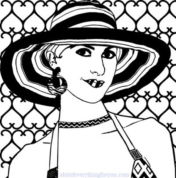 woman summer hat hearts fashion art adult coloring page printable art download digital coloring book pages makeup beauty image graphics