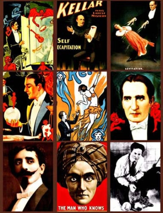 "vintage magicians Houdini Keller Thurston Faust magic show collage sheet digital download 2.5"" x 3.5"" images printable aceos"