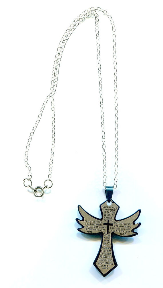 stainelss steel blue cross pendant necklace lords prayer spanish handmade silver chain unisex mexican jewelry