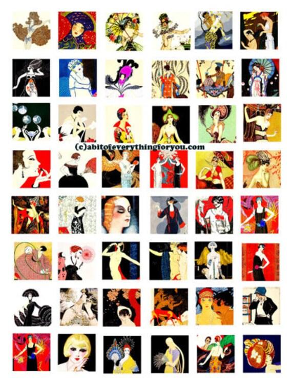 deco flapper girls 1920s art collage sheet 1 inch squares clip art digital downloadable graphics images pendant printables bezels magnets