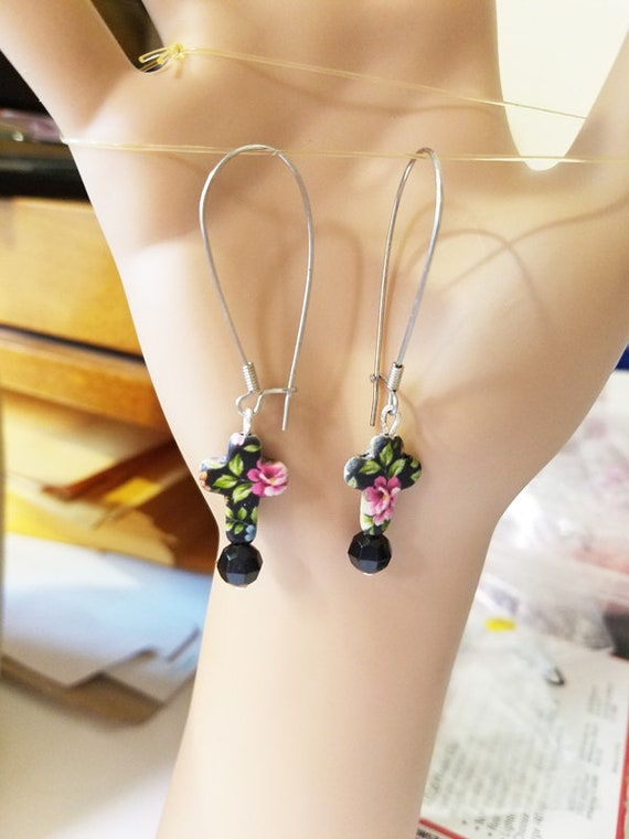 flower black cross earrings long bead dangles handmade floral jewelry