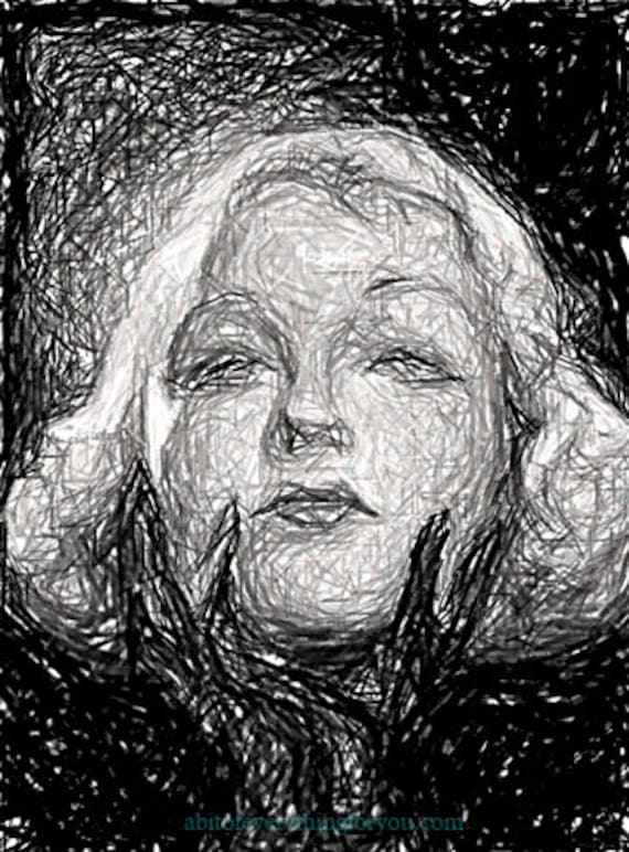 blonde woman wearing black gloves original abstract art drawing print