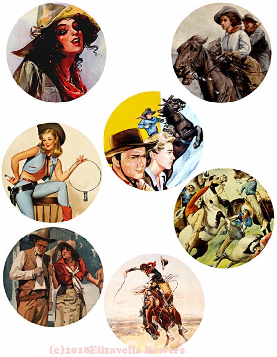 "country western art vintage cowboys cowgirls art collage sheet 3"" circles clip art digital download graphics images printables"