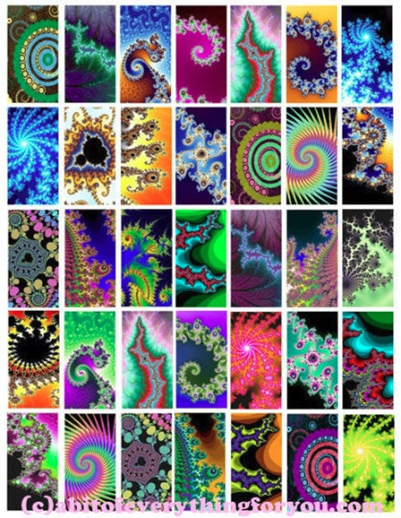 "rainbow abstract fractals digital download 1"" x 2"" Printable Images for Pendants Scrapbooking Digital Collage Sheet - Instant Download"