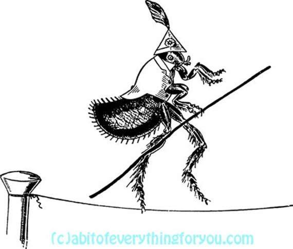 Circus Flea bug insect cartoon art printnursery kids room art digital download image graphics black & white home living room bedroom deco
