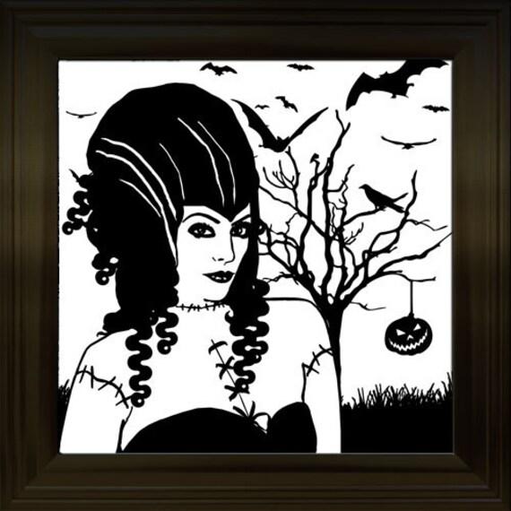 zombie woman monster bride art printable clipart png digital download image Halloween graphics instant downloadable tree bat bird silhouette