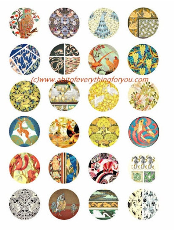 vintage animal textile fabric patterns clip art digital download collage sheet 1.5 inch circles graphics images craft printables