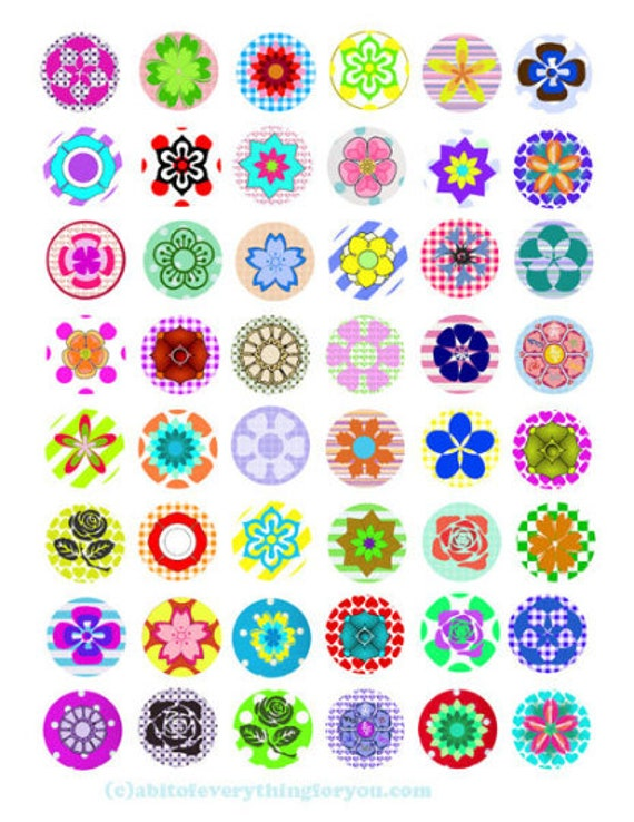 "flowers checkers polka dot patterns printable collage sheet clipart digital download  1"" inch circle graphics pendants diy jewelry making"