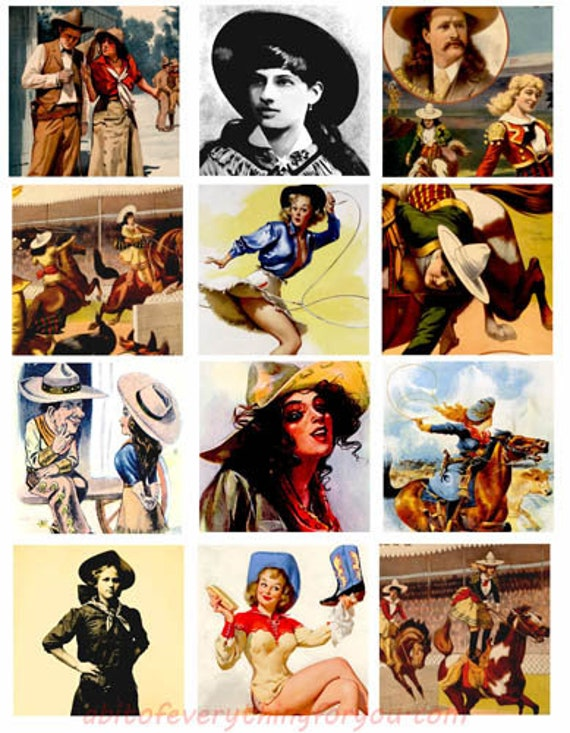 vintage cowboy cowgirls horses rodeo western art collage sheet 2.5 inch quares clipart digital download images downloadable country art