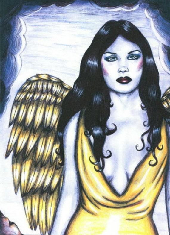 gaurdian angel woman original art print drawing pinup girl fantasy modern art spiritual sci fi