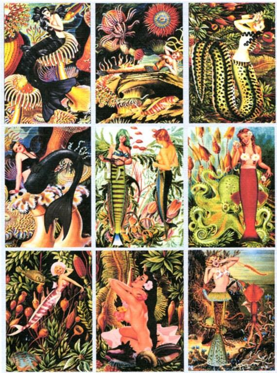 mermaid pinup girls altered art collage sheet print ocean beach crafts wall art scrapbooking decoupage paper