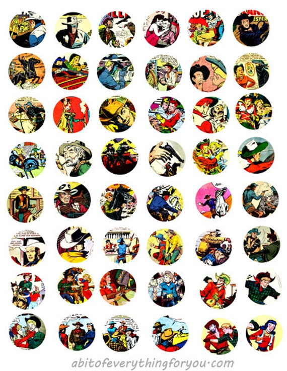 cowboys westerns comics art collage sheet 1 inch circle faces clipart digital downloadable comic book printable images DIY Jewelry
