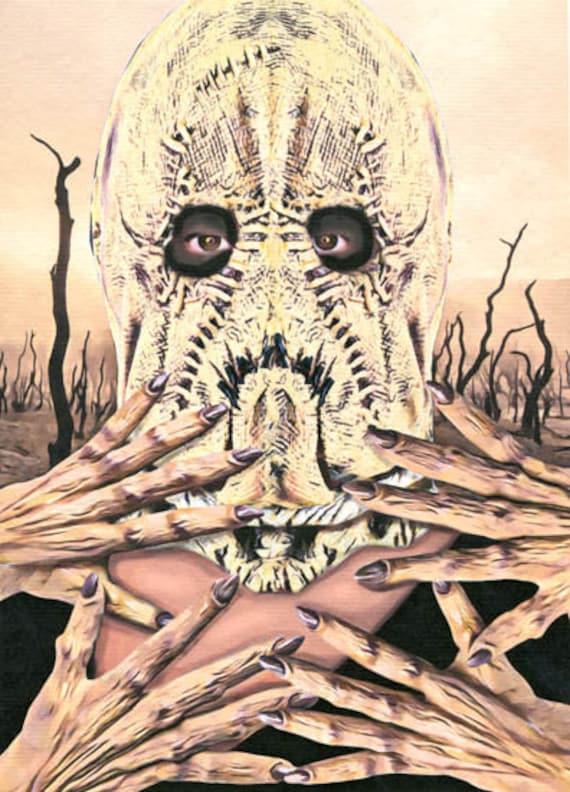 Scarecrow mask Devil Woman original art print demon hands dark fantasy horror monster