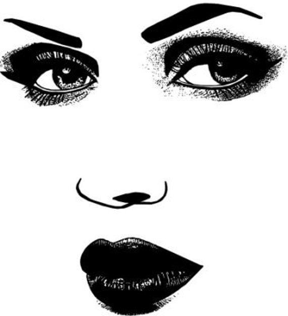 womans face eyes lips makeup long lashes art printable clipart png download digital modern image graphics beauty black and white artwork
