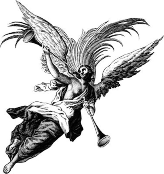 angel man blowing horn clipart png printable art print digital download image graphics fantasy religious black and white artwork