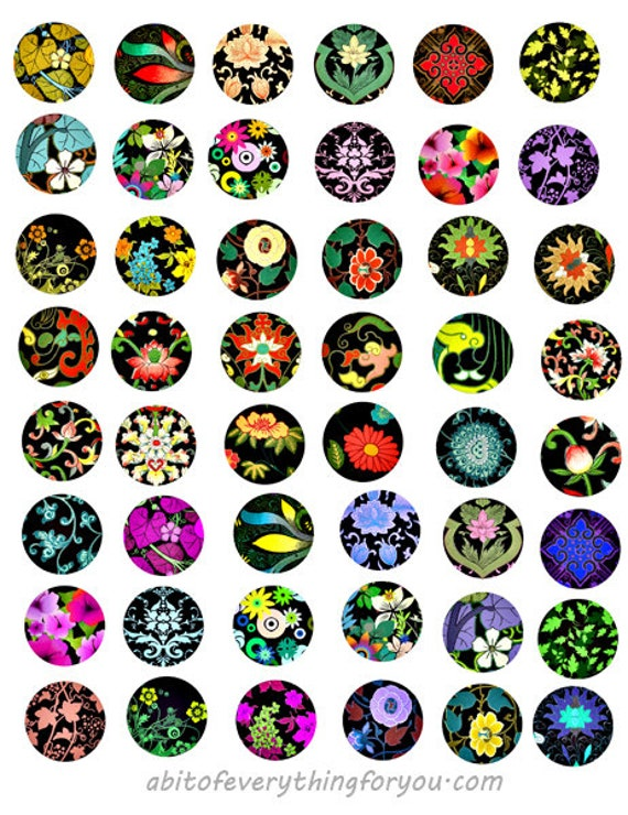 art deco flowers florals collage sheet 1 inch circles clipart digital downloadable printable images bottlecaps pendants bezels diy crafts